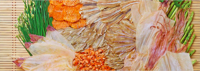Dried shrimp, salted fish, dried squid.